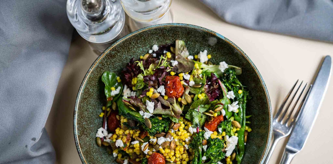 Saffron pearl couscous and chargrilled broccolini.jpg